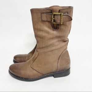 Clarks Narrative Leather Tan Mid Calf Moto Boots